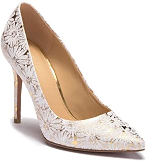 Michael Kors Womens Dorothy Leather Pointed Toe Classic, Opt/Gold, Size 9.5
