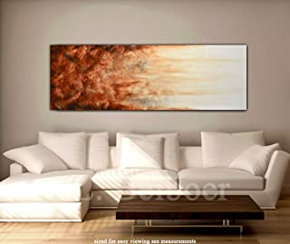 Large art original abstract 20 x 60 painting panoramic art 5 foot big brown modern abstract oil painting XXL fine art by L.Beiboer