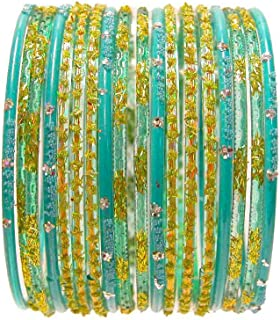 18 Individual Glass Bangles Size 2.10 ML: Turquoise Blue Lime Sari Bracelets Bollywood Belly Dance Fashion Jewelry