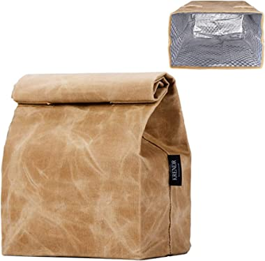Updated Waxed Canvas Lunch Bag, Waterproof Lunch Box with 2 Magnetic Buckles, Isolate Lining Inside, Reusable Lunch Bag, Easy