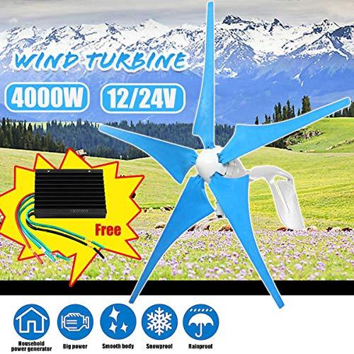 zhangchao 4000W Windturbine Generator, 5 Klingen Windmill Horizontal Generator mit Controller für Straßenlaternen Fahrzeuge Renewable,24v