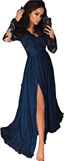 Miao Duo Women's Lace Evening Prom Dress With Split Celebrity Party Gown 71Pm