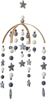 Tik Tak Design Co. Baby Crib Mobile – 100% NZ Wool Colored Felt Ball Mobile for Your Boy or Girl Babies Bed Room – Designer Colors to Match Your Nursery and Delight Your Child (Grey & White)