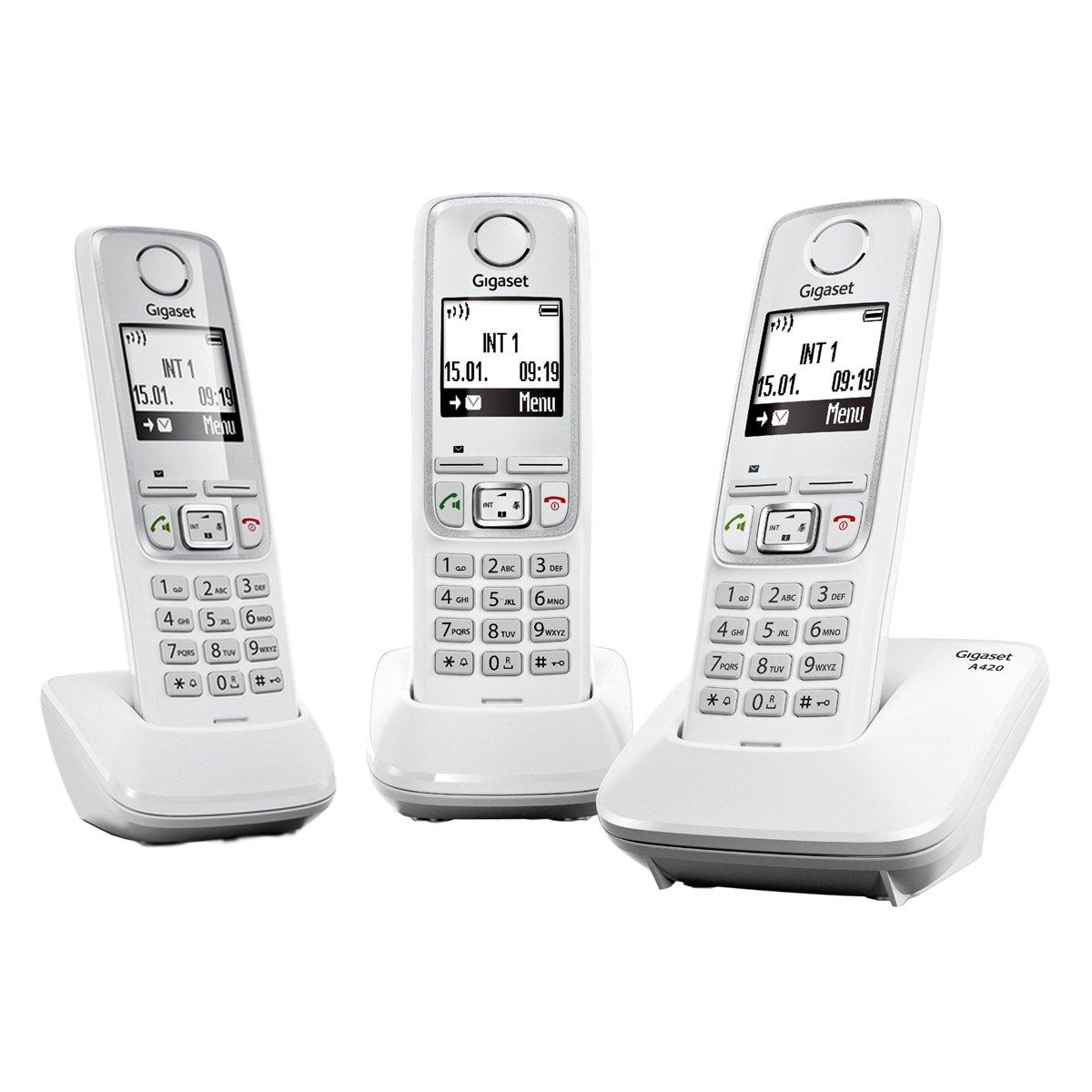 Gigaset A420 TRIO - Juego de 3 teléfonos fijos inalámbricos, color blanco [Versión Importada]: Amazon.es: Electrónica