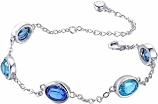 Yellow Chimes Crystals from Swarovski Linking Silver Plated Charm Bracelet for Women (Blue, Silver) (YCSWBR-2057LINKS-BL)