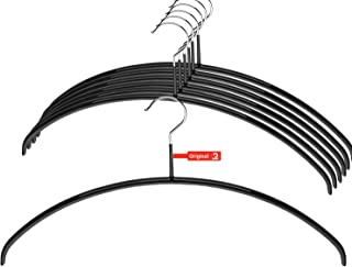 Mawa by Reston Lloyd Euro Series Non-Slip Space Saving Clothes Hanger for Shirts & Dresses, Style 40/P, Set of 10, Black