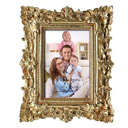 Giftgarden Bilderrahmen Gold Vintage Fotorahmen Deko antik Photo Rahmen Barock Shabby chic Hochzeit Family Design ausgefallen schön Edel Eleganz Geschenke für Freunde 10x15