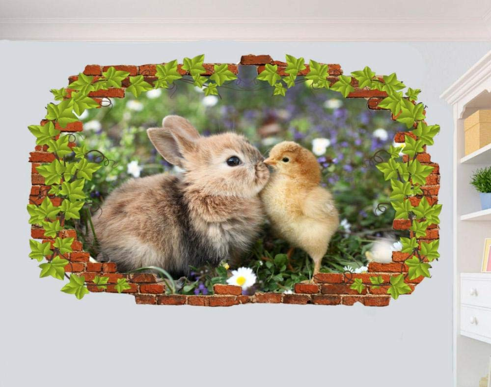Super sale FHMYCSQ 3D Wall Sticker Max 75% OFF Stickers Chick Baby Bunny and