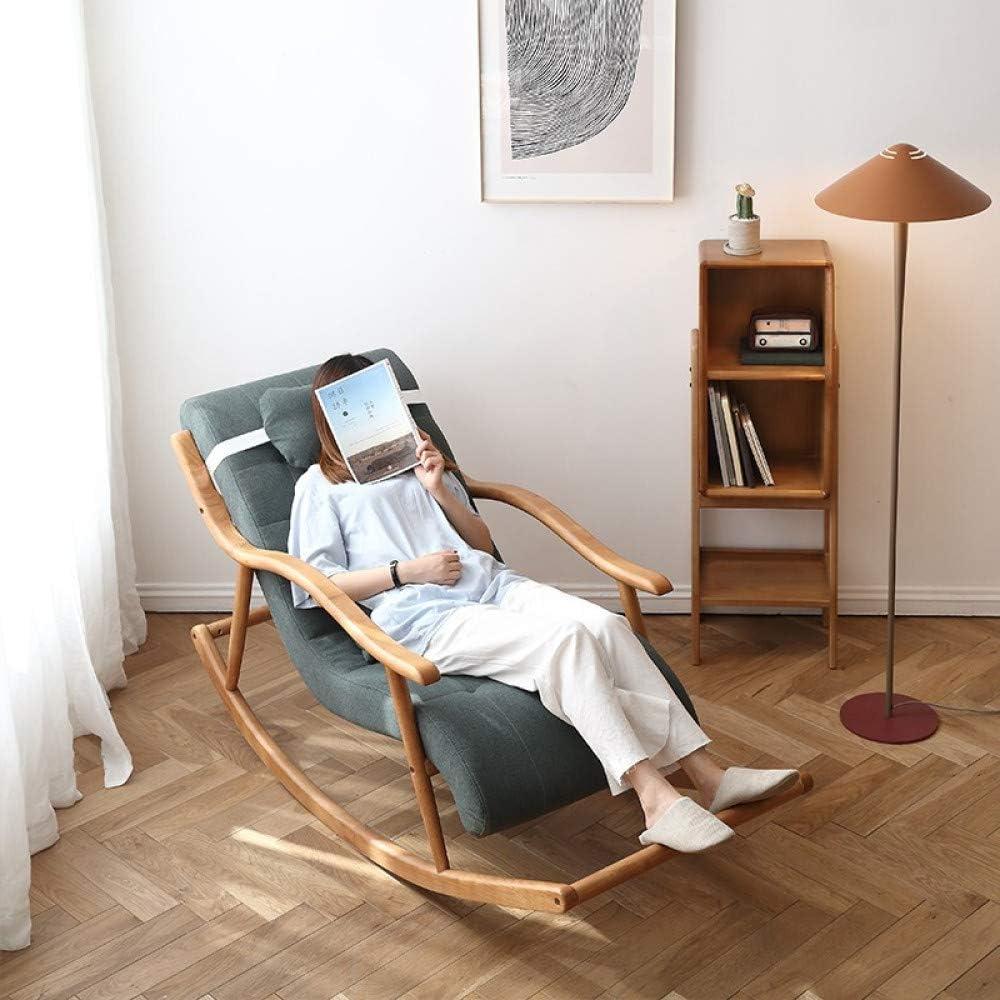 Y&MoD Fauteuil Relax Fauteuil à Bascule,Chaise berçante avec avec Siège Rembourré& Oreiller. Capacité de Charge 150 kg,Base en Bois pour Le Salon Balcon Chambre A