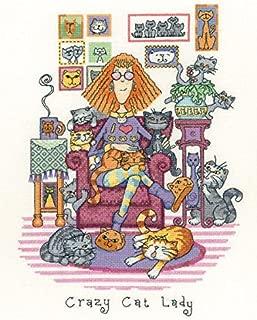 Heritage Crafts Crazy Cat Lady Cross Stitch Kit