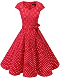 DRESSTELLS Version 6.0 Vintage 1950's Robe de soirée Cocktail rétro Style années 50 Manches Courtes Red Small White Dot XL