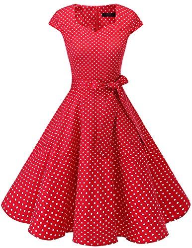 Dresstells Vintage 50er Swing Party kleider Cap Sleeves Rockabilly Retro Hepburn Cocktailkleider Red Small White Dot L