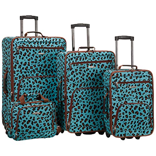 Rockland Jungle Softside Upright Luggage Set, Blue Leopard, 4-Piece (14/29/24/28)