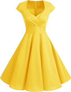 Bbonlinedress Vestido Corto Mujer Retro Años 50 Vintage Escote