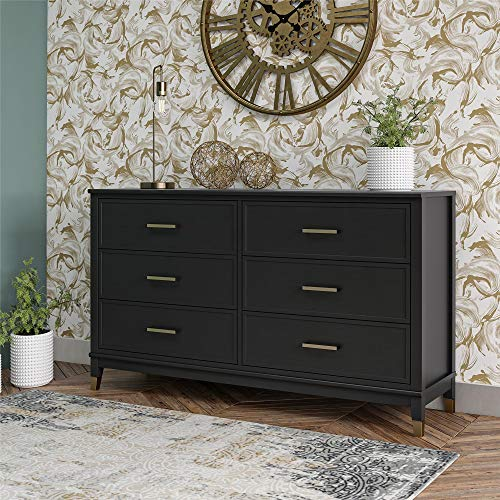CosmoLiving by Cosmopolitan Westerleigh 6 Drawer, Black Dresser,