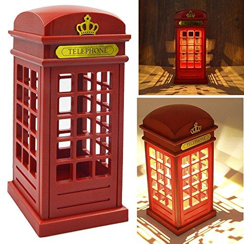 Vococal - Cabina telefónica Vintage Londres diseñado USB LED noche Touch Sensor mesa escritorio lámpara de carga para estudiantes dormitorio dormitorio iluminación casa Bar decoración novedad cumpleaños vacaciones regalo brillo ajustable