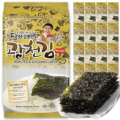 Kwangcheonkim Seasoned Seaweed Sheets Snacks – 16 Individual Packs Premium Natural Roasted Laver Nori 4g 김 のり 海苔 紫菜