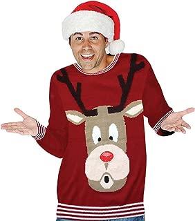 Digital Dudz Snowglobe Rudoph Nose Ugly Christmas Sweater, Red, Medium