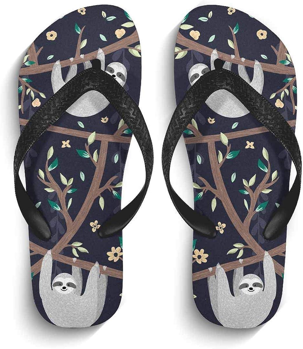 InterestPrint Men's Non-Slip Flip Flop Slippers Colorful Ukulele Flower Beach Thong Sandal