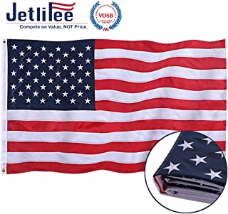 Jetlifee American Flag 2x3 Ft - by U.S. Veterans Owned Biz. Embroidered Stars, Sewn Stripes, Brass Grommets US Flag.Outdoors Indoors USA Flags Polyester 2 x 3 Foot.