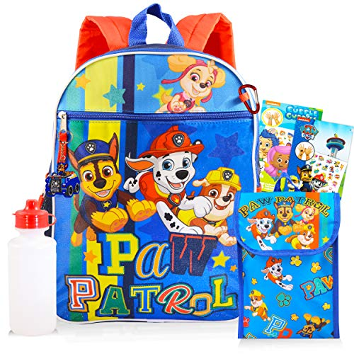 Paw Patrol Backpack and Lunch Box Bundle Set ~ 7 Pc Deluxe 16' Paw Patrol Backpack, Lunch Bag, Water Bottle, Tattoos, and More (Paw Patrol School Supplies)