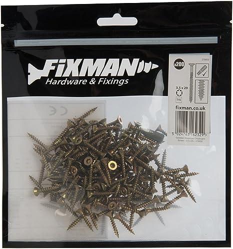 Fixman 378932 Tornillos para Madera Aglomerada, Oro, 3.5 x 20mm, Set de 200 Piezas