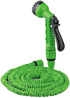 Garden Hose Expandable Water Hose Heavy Duty Double Latex Core Telescopic Water Pipe Flexible Expanding Hose with 7 Function Metal Spray Nozzle Outdoor Lawn Car Watering Plants 25cm