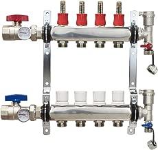 4 Loop Stainless Steel Premium PEX Manifold With 1/2