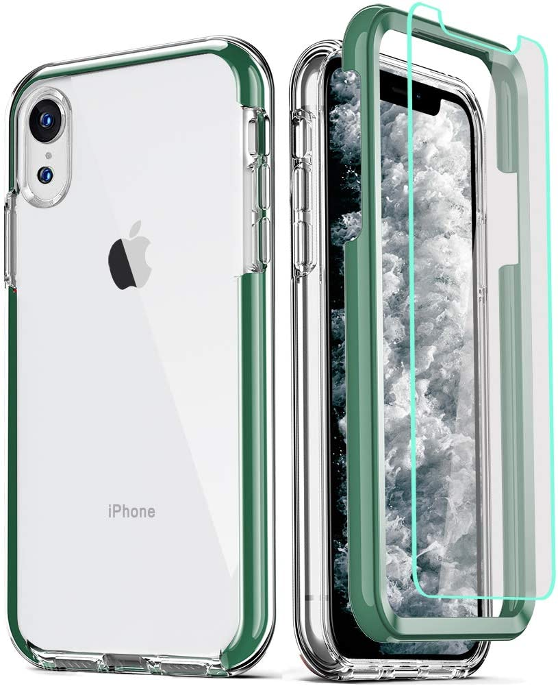 COOLQO Compatible for iPhone XR Case, with [2 x Tempered Glass Screen Protector] Clear 360 Full Body Coverage Hard PC+Soft Silicone TPU 3in1 Heavy Duty Shockproof Defender Phone Protective Cover Green
