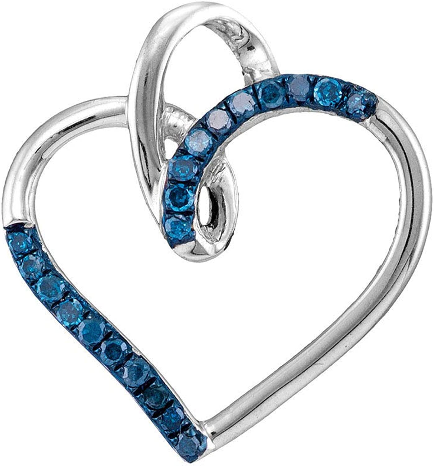 10kt White gold Womens Round bluee color Enhanced Diamond Heart Pendant 1 6 Cttw