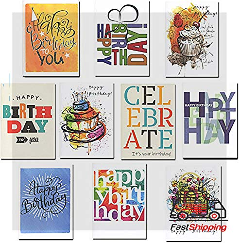 Employee Birthday Cards Bulk - Birthday Cards Business Assorted 30 Cards (10 Designs) w/Greetings Inside USA Made, 32 Env