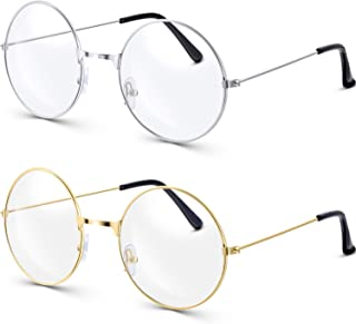 Bememo 2 Pairs of Wizard Glasses Round Wire Costume Glasses Accessories for Dressing Up (Gold and Silver)