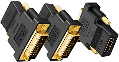 DVI to HDMI Adapter, CableCreation 3-Pack Bi-Directional DVI-D(24+1) Male to HDMI Female Converter, 1080P HDMI to DVI Adapter, 3D