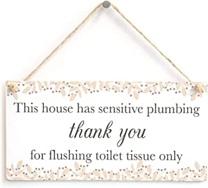 Meijiafei This House has Sensitive Plumbing Thank You for Flushing Toilet Tissue only - Neutral Colour Septic Tank Notice Hanging Sign for Toilet Door 10
