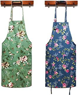 HOMKIN Women Kitchen Apron-2 Pack, Cotton Canvas Flower Apron, Floral Pattern Apron with Pockets for Women Chef Apron(Green&Blue).