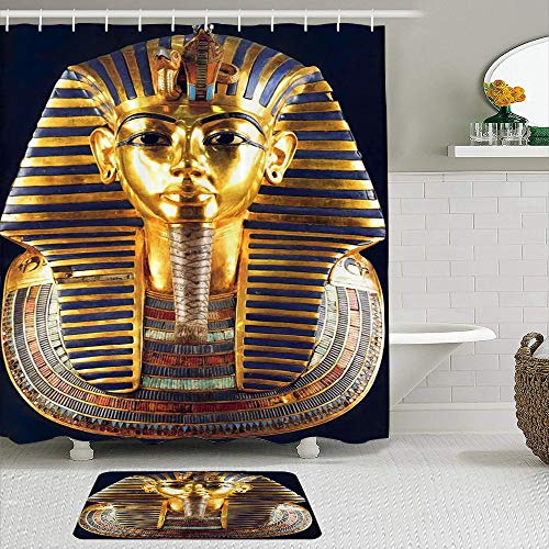 Fabric Shower Curtain and Mats Set,Egyptian Gold Pharaoh Mummy,Waterproof Bath Curtains with 12 Hooks,Non Slip Rugs