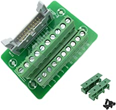Sysly IDC20 2x10 Pins Male Header Breakout Board Terminal Block Connector with Simple DIN Rail Mounting feet