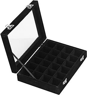 Ivosmart 24 Section Velvet Glass Jewelry Ring Display Organiser Box Tray Holder Earrings..