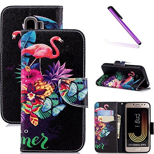 COTDINFOR Custodia Galaxy J2 PRO 2018,Cover Pelle Samsung Galaxy J2 PRO 2018,[Supporto Stand][Carta Fessura],Magnetica Protettiva Flip Wallet Cover per Galaxy J2 PRO 2018 Flamingo Butterfly BF.