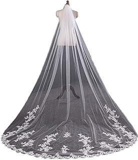 3M Bridal Veil Wedding Accessories 1 Tier Chapel Bride Veil Women Custom Made Long Bridal Veil With Lace Applique Crystal ...