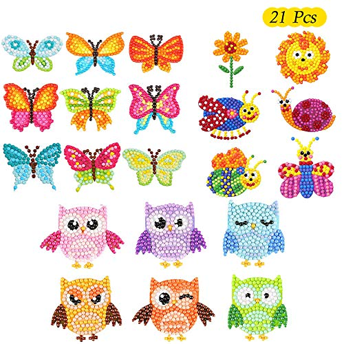 Creatiees 21pz 5D Diamante Pianting Kit per Bambini, Animale DIY Adesivi Pittura Diamante Kit Pittura Diamante Adesivo Animali Adesivo Dipinto con Dia