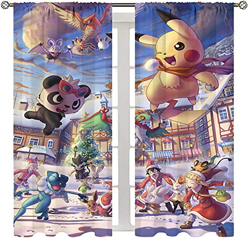SSKJTC Exclusive Home Curtains Anime Pokemon Thermal Insulated Printed Curtain W72xL63 Inch