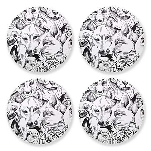 Posavasos para bebidas absorbentes – Wolf Fox Parrot - Juego de 4 para decoración de mesa de bar de café