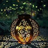 Lampara Solar Exterior Jardin , Farolillos Solares Luces Led Luz Jardin Solares para Exteriores Decoracion Terraza Exterior Lampara Jardin -Impermeable IP44[clase de energía A +] Dorado