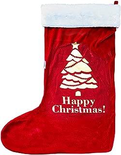 TWISTED ENVY - Calcetín de Terciopelo Rojo con Borde Blanco – Silueta de Santa en el Muslo