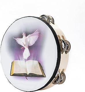 Tambourines 8 inch Dove Bible Dow Ring Jingle Tambourine برای بزرگسالان ، Handbell Clap Drum Tambourine for Pray Church Party ساز موسیقی (8 اینچ کبوتر)