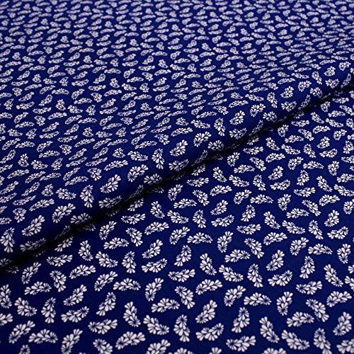 Hans-Textil-Shop 1 Meter Stoff Meterware Dirndl Blumen Blümchen Blau - Mit Blumenmuster für Deko und Dirndl