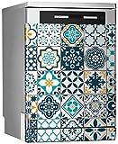 MEGADECOR Vinilo Decorativo para Lavavajillas, Medidas Estandar 67 cm x 76 cm, Mosaico de Azulejos Antiguos Portugueses o Españoles