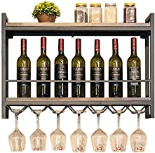 Metal Wine Racks Wall Mounted | Industry Vintage Retro Wood Wine Bottle Holder | Wall Shelf Storage Organizer Rack for Liv...