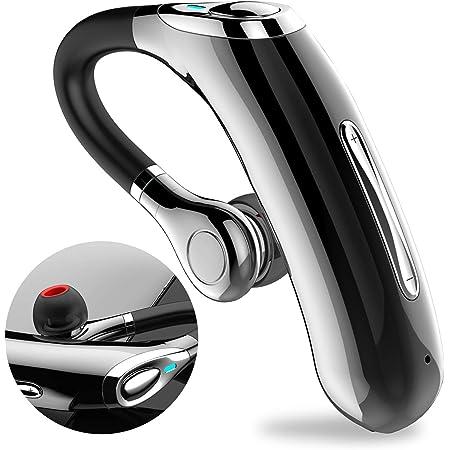 ヘッドセット Bluetooth V5.0 片耳, 超長時間通話 イヤホン, HD 通話,強力なノイズキャンセリング,マイク内蔵 ハンズフリー通話,ノイズキャンセリングと音声コントロールのための設計